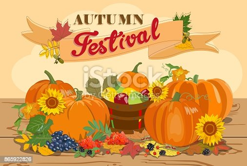 Vector illustration with image of ripe pumpkins and apples, grapes, sunflowers, rowanberry, and autumn leaves with text Autumn Festival. Harvesting.