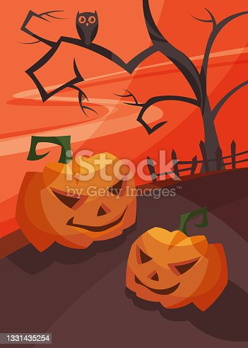 istock Poster with pumpkin heads at bloody sunset. 1331435254