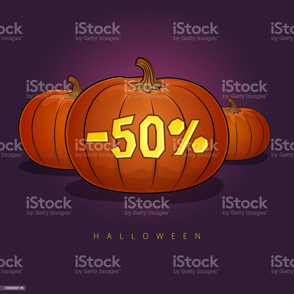 poster with pumpkins and holiday discounts stock vector art & more