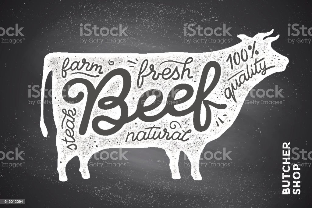 Poster with red cow silhouette. Lettering vector art illustration