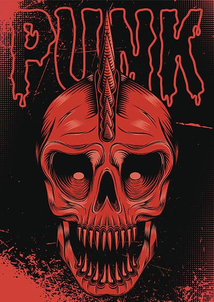 poster mit rotem schädel für punk rock - punk stock-grafiken, -clipart, -cartoons und -symbole