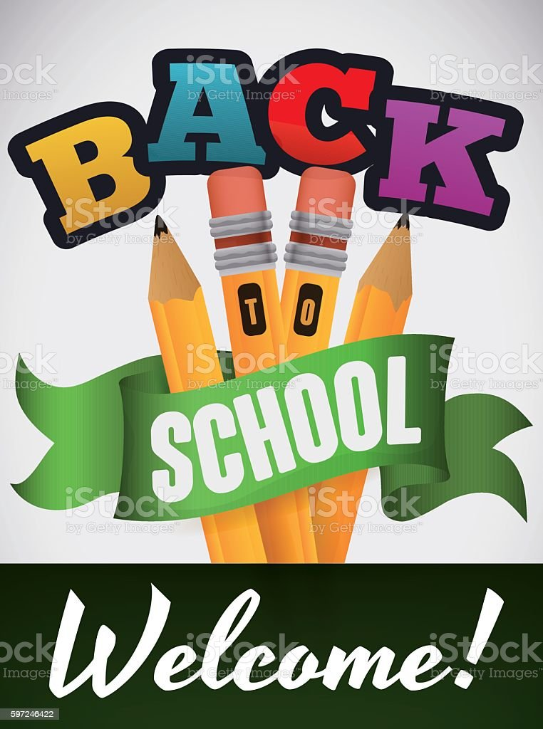 Poster with Set of Pencils for Back to School Season - ilustración de arte vectorial