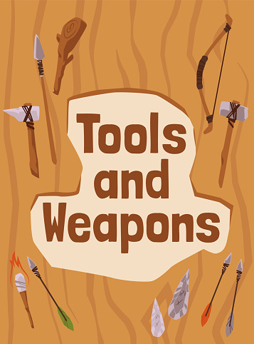 Poster with set primitive tools and weapon of prehistoric cave man in stone age.