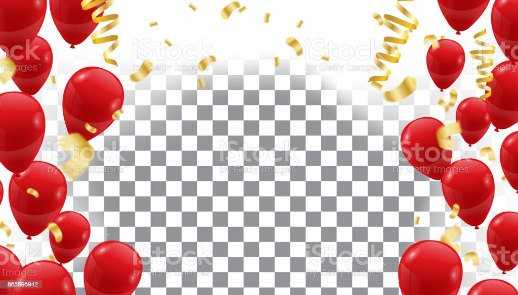 Poster with Shiny Red Balloons on  translucent background with  Vector illustration