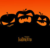 Poster with silhouettes of pumpkins Text of Happy Halloween for invitations to a holiday and a party October 31 Congratulation on Halloween Banner for sales and discounts Flat design card Vector