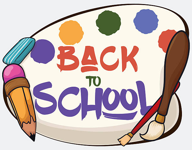 poster with some art class equipment for back to school - art class stock illustrations, clip art, cartoons, & icons
