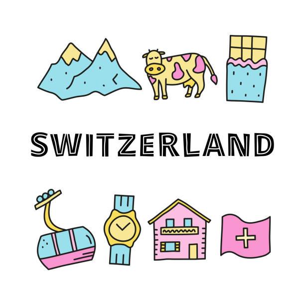 poster mit schweiz reise-ikonen und schriftzug. - raclette stock-grafiken, -clipart, -cartoons und -symbole