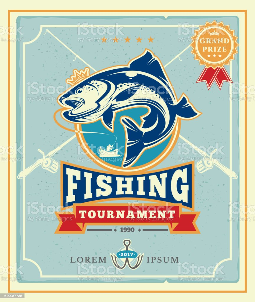 Poster with the announcement of the fishing tournamen vector art illustration