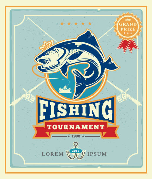 ilustraciones, imágenes clip art, dibujos animados e iconos de stock de poster with the announcement of the fishing tournamen - pesca