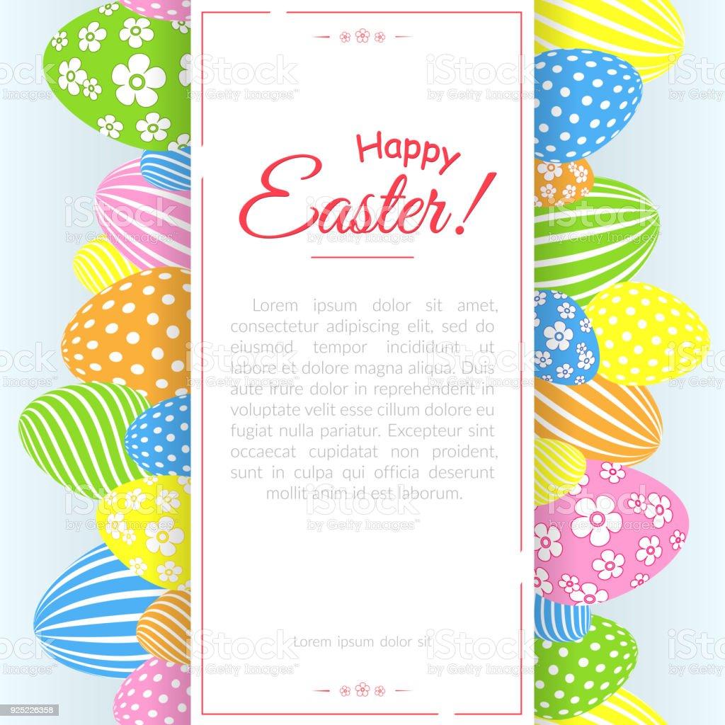 Ilustración de Un Cartel Con El Texto Feliz Pascua En El Fondo De ...