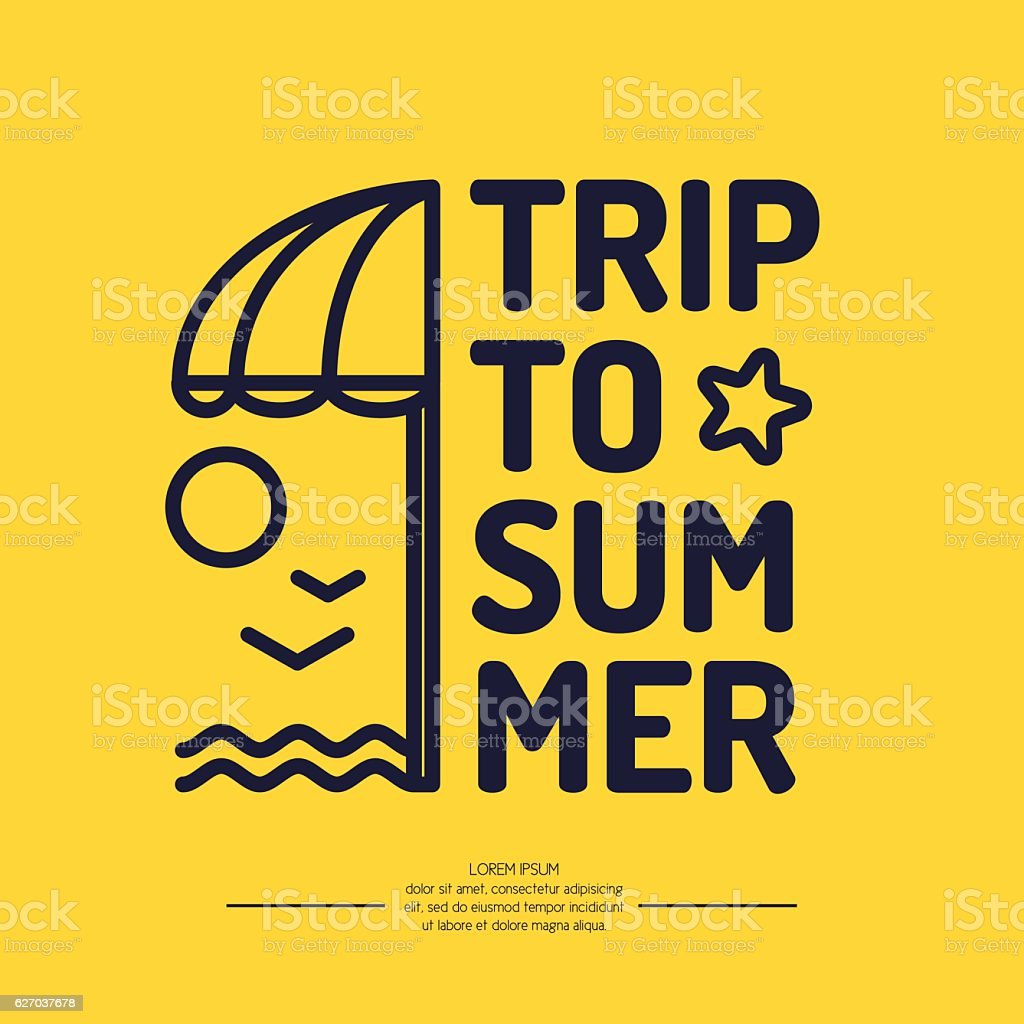 Poster With The Text Trip To Summer Beach Umbrella Lizenzfreies