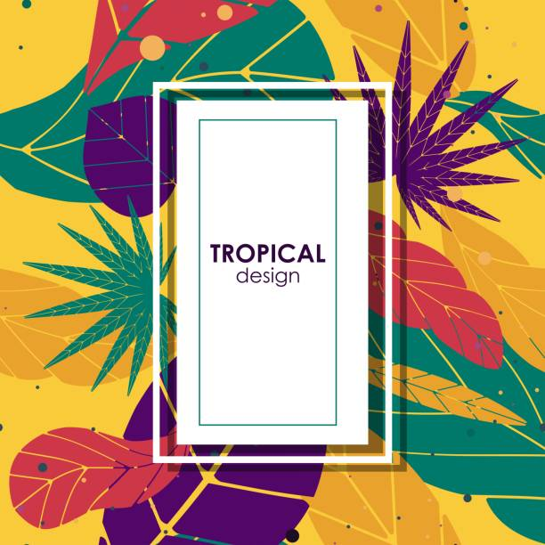 poster with tropical leaves vector art illustration