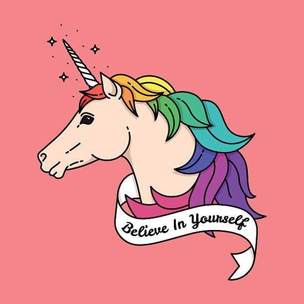 bildbanksillustrationer, clip art samt tecknat material och ikoner med poster with unicorn. vector illustration with quote - homosexuell