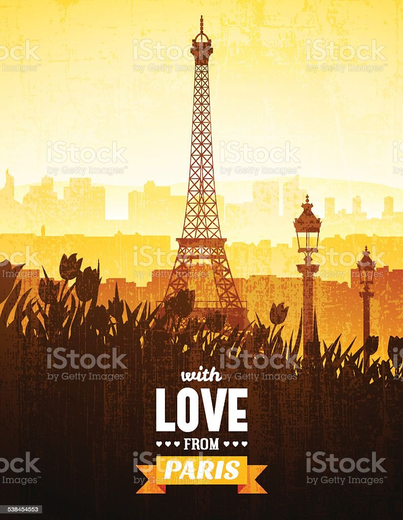 Poster with views of Paris vector art illustration