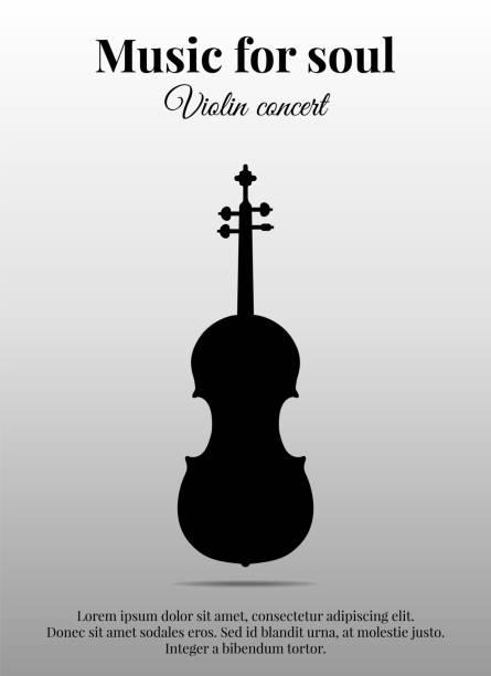 bildbanksillustrationer, clip art samt tecknat material och ikoner med affisch med fiol. svart siluett. vektorillustration - violin