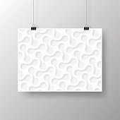 Realistic poster in horizontal position and with an abstract background (white rounded pattern), isolated on white background.