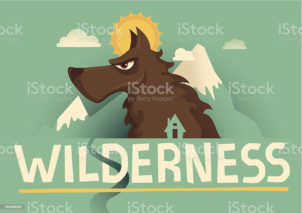 Poster with wolf. royalty-free stock vector art