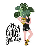 Poster with young woman cultivating home tropical plants and text - 'My little garden'. Hand drawn illustration in scandinavian style. Vector design.
