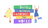 Small Gestures Can Change World Motivation Text Poster. Banner with Dancing Happy Girls around Lettering. Flat Vector Template Design Illustration. Even Small Things, Shallow Support Make Life Better