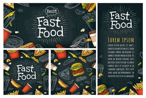 Posters and seamless pattern fast food and lettering.