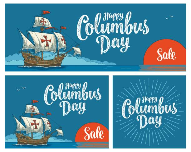 posters for happy columbus day. sailing ship floating - columbus day stock illustrations