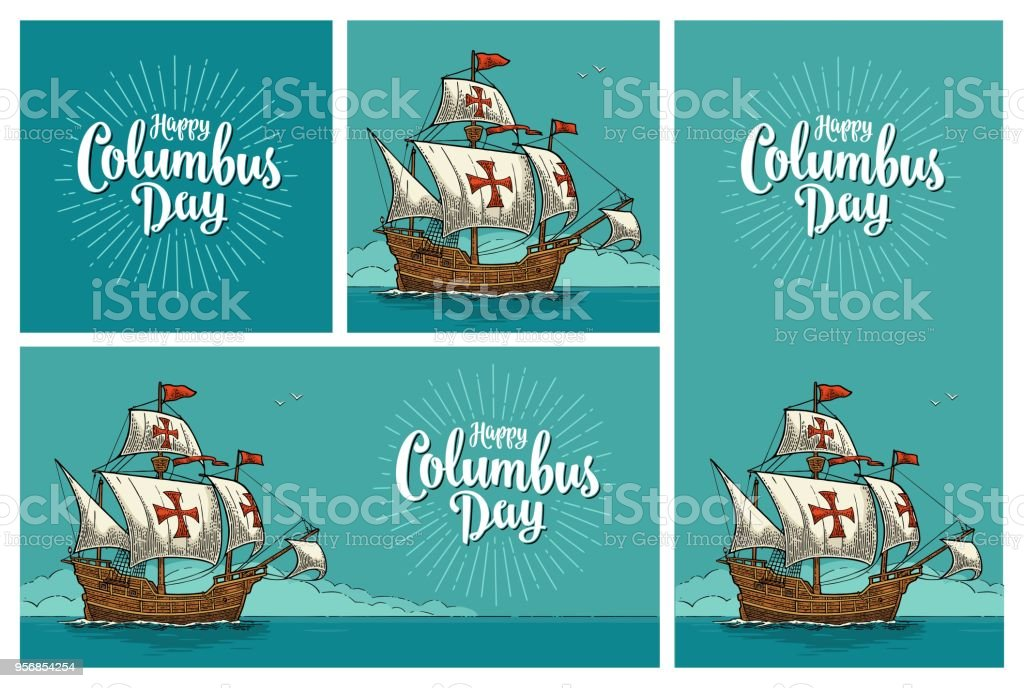 Posters for Happy Columbus Day. vector art illustration
