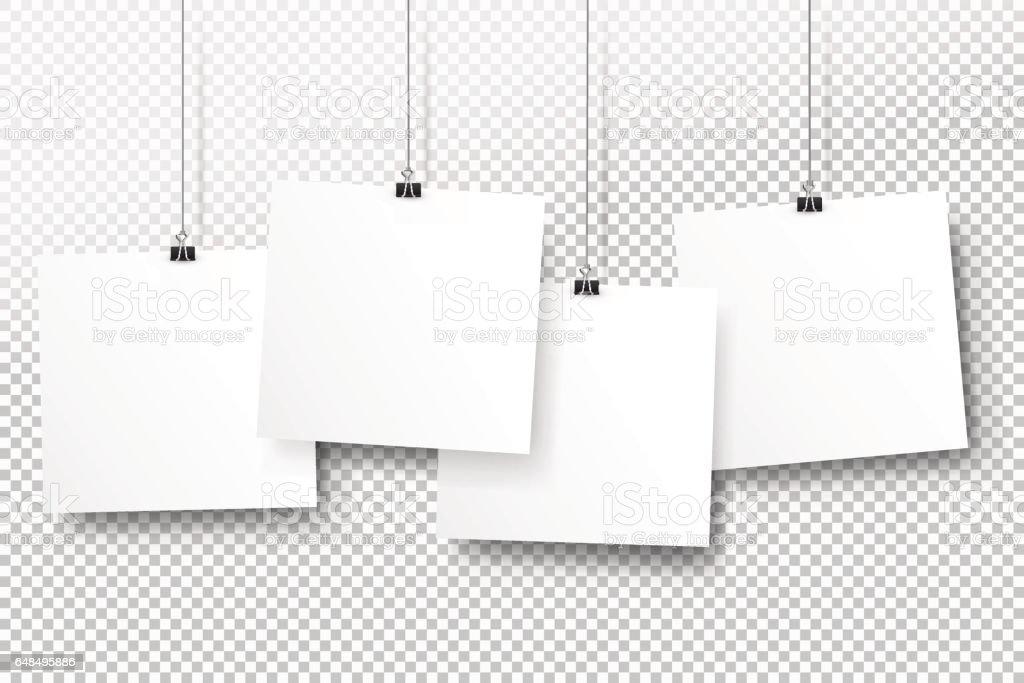 Ilustración de Carteles En Clips Binder Plantillas De Papel De Bloc ...
