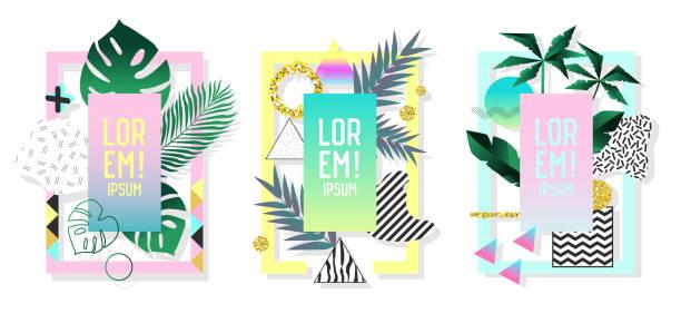 ポスターは、抽象的な幾何学的要素とヤシの葉セットします。トロピカルなデザインは、カバー、プラカード、チラシの 80 ~ 90 年代のファッションを設定します。ベクトル図 ベクターアートイラスト