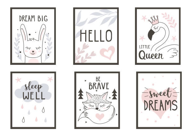 posters Scandinavian style posters for nursery. Can used for greeting cards, baby shower invitations. Vector illustration. bedroom borders stock illustrations