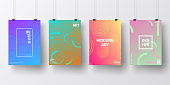 Four realistic posters in vertical position with modern and trendy backgrounds, isolated on white wall. Abstract colorful illustrations. Circles and circular shapes with beautiful color gradients (colors used: Red, Purple, Pink, Orange, Green, Blue, Turquoise, Yellow). Template for your own design, with space for your text. The layers are named to facilitate your customization. Vector Illustration (EPS10, well layered and grouped), wide format (2:1). Easy to edit, manipulate, resize and colorize.