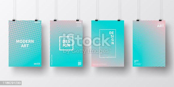 Four realistic posters in vertical position with abstract and geometric backgrounds, isolated on white wall. Modern and trendy background with color gradients (colors used: Red, Orange, Pink, Purple, Blue, Turquoise, Green). Template for your design, with space for your text. The layers are named to facilitate your customization. Vector Illustration (EPS10, well layered and grouped). Easy to edit, manipulate, resize or colorize.
