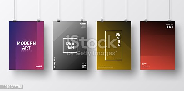 Four realistic posters in vertical position with modern and trendy backgrounds, isolated on white wall. Abstract colorful illustrations with two symmetrical folds and beautiful color gradients (colors used: Red, Purple, Pink, Orange, Gray, Brown, Blue, Black, Yellow). Template for your own design, with space for your text. The layers are named to facilitate your customization. Vector Illustration (EPS10, well layered and grouped), wide format (2:1). Easy to edit, manipulate, resize and colorize.