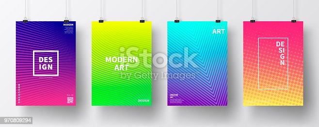 Four realistic posters in vertical position with abstract and colorful geometric backgrounds, isolated on white wall. Modern and trendy background with beautiful color gradients (blue, purple, pink, yellow, green, cyan, red, orange). Template for your design. With space for your text and your background. The layers are named to facilitate your customization. Vector Illustration (EPS10, well layered and grouped). Easy to edit, manipulate, resize or colorize. Please do not hesitate to contact me if you have any questions, or need to customise the illustration. http://www.istockphoto.com/portfolio/bgblue