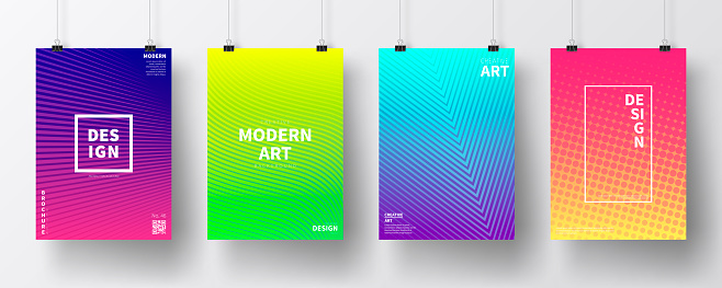 Posters with colorful geometric design, isolated on white background
