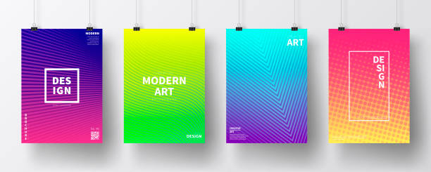 posters with colorful geometric design, isolated on white background - poster stock illustrations