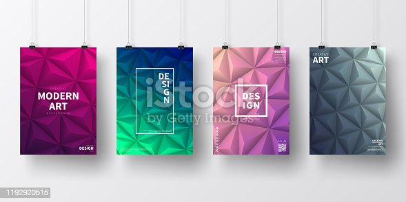 Four realistic posters in vertical position with modern and trendy backgrounds, isolated on white wall. Abstract geometric illustrations in a low poly style. Polygonal mosaics with beautiful color gradients (colors used: Purple, Pink, Green, Gray, Blue, Black, Beige, Turquoise, Yellow). Template for your own design, with space for your text. The layers are named to facilitate your customization. Vector Illustration (EPS10, well layered and grouped), wide format (2:1). Easy to edit, manipulate, resize and colorize.