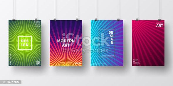Four realistic posters in vertical position with modern and trendy backgrounds, isolated on white wall. Abstract colorful illustrations. Geometric designs with lines and beautiful color gradients (colors used: Red, Purple, Pink, Orange, Green, Blue, Black, Turquoise, Yellow). Template for your own design, with space for your text. The layers are named to facilitate your customization. Vector Illustration (EPS10, well layered and grouped), wide format (2:1). Easy to edit, manipulate, resize and colorize.