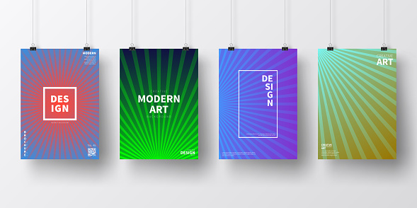 Posters with colorful lines designs, isolated on white background