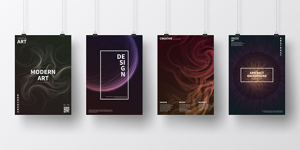 Posters with dark futuristic designs, isolated on white background