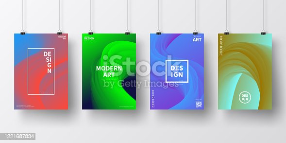 Four realistic posters in vertical position with modern and trendy backgrounds, isolated on white wall. Abstract colorful illustrations with fluid, liquid, 3d shapes and beautiful color gradients (colors used: Red, Purple, Pink, Orange, Green, Brown, Blue, Black, Turquoise, Yellow). Template for your own design, with space for your text. The layers are named to facilitate your customization. Vector Illustration (EPS10, well layered and grouped), wide format (2:1). Easy to edit, manipulate, resize and colorize.
