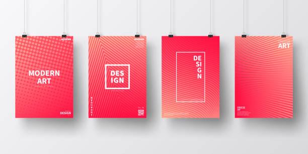 bildbanksillustrationer, clip art samt tecknat material och ikoner med affischer med röd geometrisk design, isolerade på vit bakgrund - pink sunrise