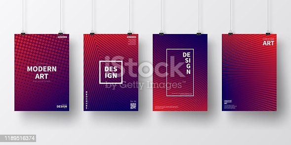 Four realistic posters in vertical position with abstract and geometric backgrounds, isolated on white wall. Modern and trendy background with color gradients (colors used: Red, Purple, Blue, Black). Template for your design, with space for your text. The layers are named to facilitate your customization. Vector Illustration (EPS10, well layered and grouped). Easy to edit, manipulate, resize or colorize.