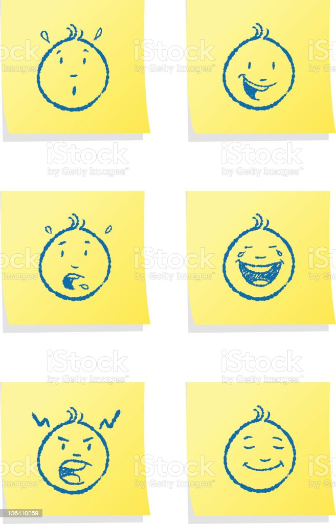 Post-it Emotions royalty-free postit emotions stock vector art & more images of adhesive note
