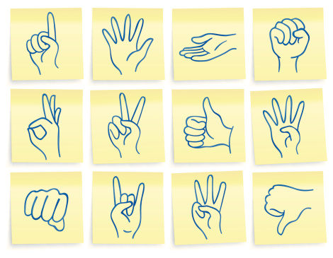 """""""Post-it"""" hand icons"""