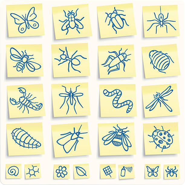 """stockillustraties, clipart, cartoons en iconen met """"post-it"""" insect icons - larve"""