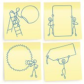 A set of 4 post-it notes with line-art men showing promotion signs.