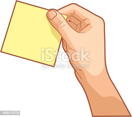 Vector illustration of a hand holding a postit, isolated on white background.