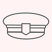 Postman cap thin line icon. Mail man hat, uniform clothes. Postal service vector design concept, outline style pictogram on white background, use for web and app. Eps 10