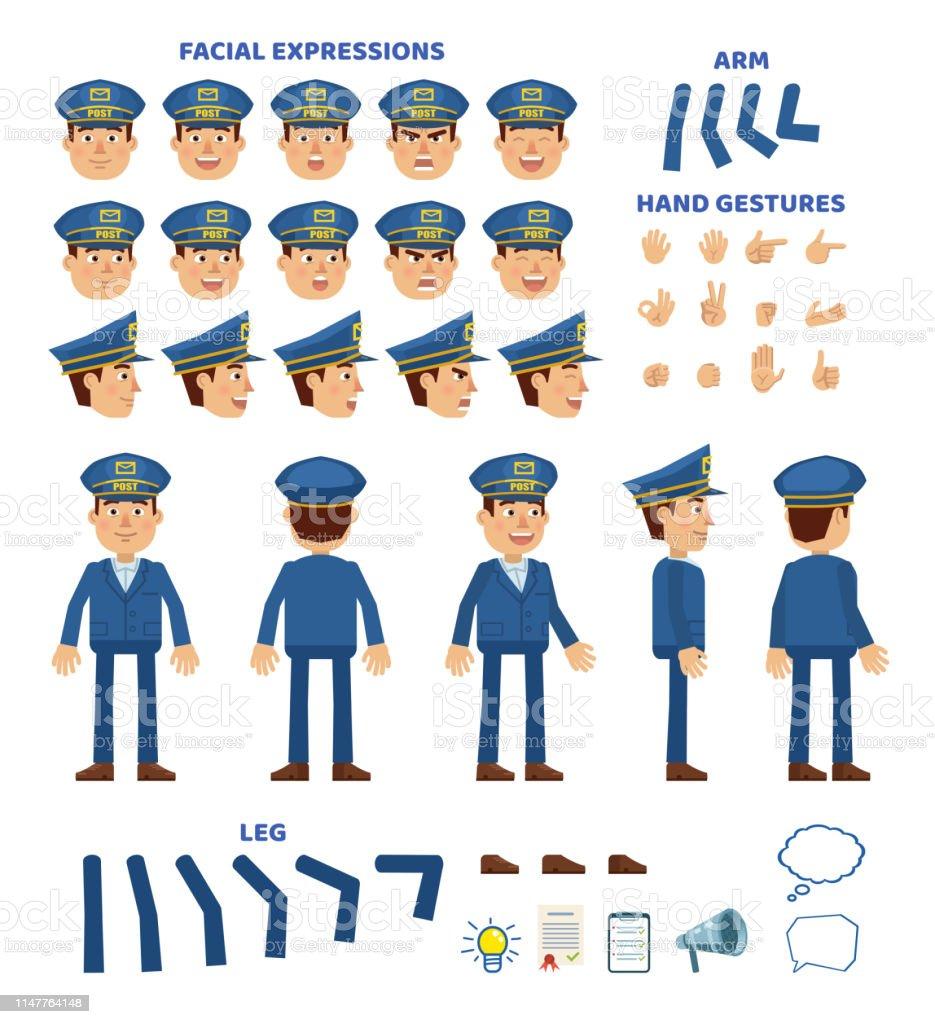 Postman Character Creation Set Various Gestures Emotions