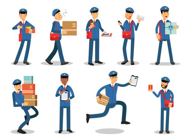 postman characters doing their job set. cheerful mailmen in different situations cartoon vector illustrations - postal worker stock illustrations